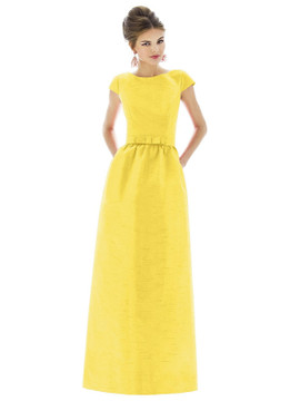 Cap Sleeve V-Back Maxi Dress with Pockets by Alfred Sung D569 in 5 colors