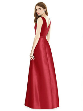 Sleeveless A-Line Satin Dress with Pockets By Alfred Sung D754 in 36 colors