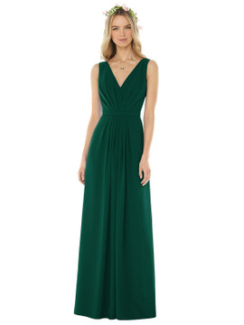 Sleeveless V-Pleat Sheer Crepe Dress by Social Bridesmaid 8157 in 33 colors