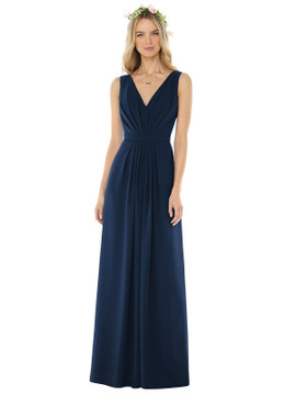 Sleeveless V-Pleat Sheer Crepe Dress by Social Bridesmaid 8157 in 38 colors