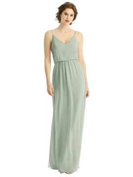 V-Neck Blouson Bodice Chiffon Maxi Dress by After Six Bridesmaid 1505 in 63 colors