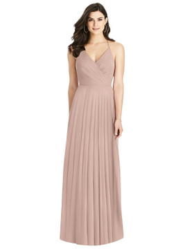 Ruffled Strap Cutout Wrap Maxi Dress By Dessy Bridesmaid 3021 in 63 colors in bliss
