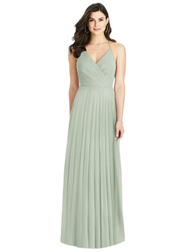 Ruffled Strap Cutout Wrap Maxi Dress By Dessy Bridesmaid 3021 in 63 colors in willow