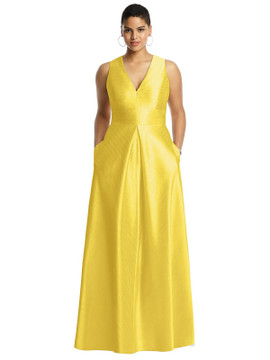 Sleeveless Pleated Skirt Dupioni Dress with Pockets in daisy