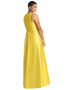 Sleeveless Pleated Skirt Dupioni Dress with Pockets by Alfred Sung Bridesmaid D611 available in 3 colors shown in Daisy