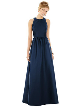 Sleeveless Keyhole Back Satin Maxi Dress by Alfred Sung D707 in 33 colors