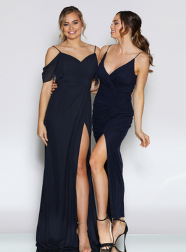 Dela Dress By Les Demoiselle LD1097 V Neck Spaghetti Strap Ruched Long Gown with High Front Split