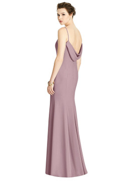 Bateau-Neck Open Cowl-Back Trumpet Gown by Studio Design 4535 in Dusty Rose