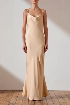 Shona Joy Bias Cowl Slip Dress - Champagne