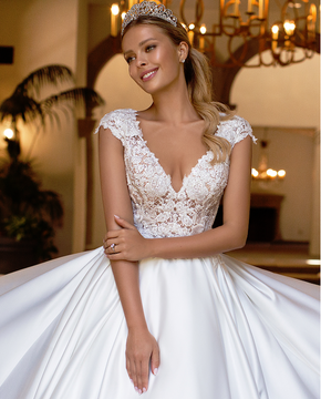 Katie Satin Wedding Ball Gown J6707 by Moonlight Bridal