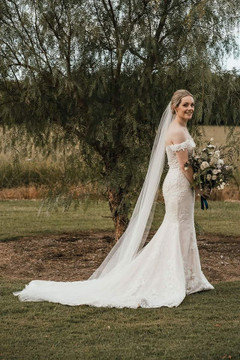 Absolutely stunning FY Bride Charlotte in Jenna Off-the-Shoulder Net and Chantilly Lace Wedding Dress H1391 by Moonlight Bridal Ivory/Ivory