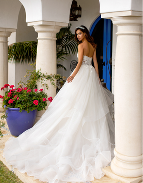 Lily Wedding Gown with Cascades and Swarovski Crystals H1393 by Moonlight Bridal