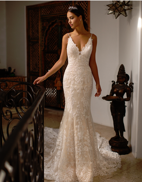 Caroline V-neck Wedding Gown with See-Through Cathedral Train H1396 by Moonlight Bridal