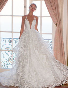 Hailey V-Neck Wedding Gown with Lacy Illusion Back H1373 by Moonlight Bridal