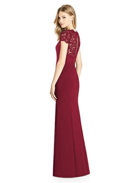 Cap Sleeve Lace and Crepe Trumpet Gown with Jeweled Belt by Jenny Packham Dress JP1001 in 7 colors