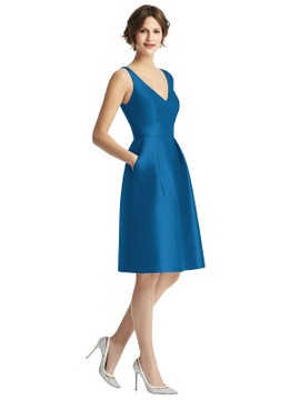 V-Neck Pleated Skirt Cocktail Dress with Pockets by Alfred Sung Bridesmaids D768 in 23 colors