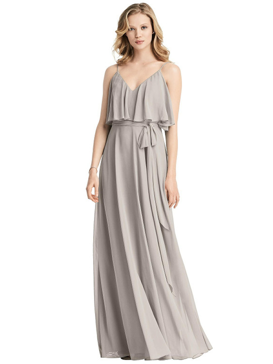Ruffled Cold-Shoulder Maxi Dress with Flounce Overlay by Jenny Packham Dress JP1033 in 64 colors