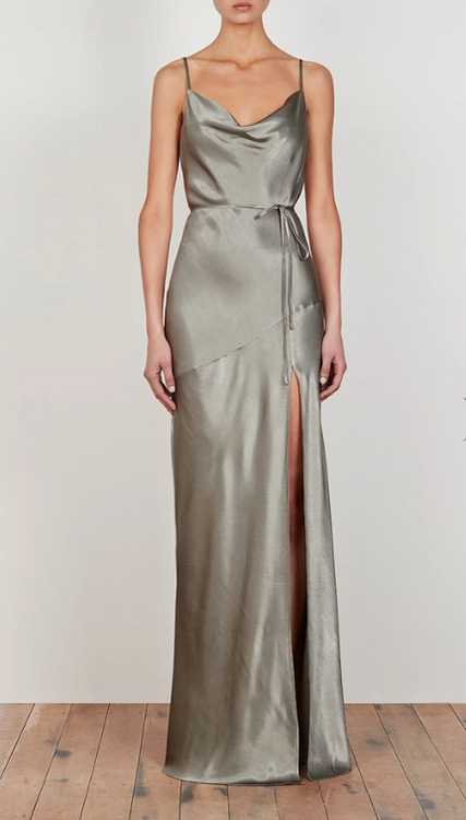 LA LUNE BIAS COWL MAXI DRESS - SAGE