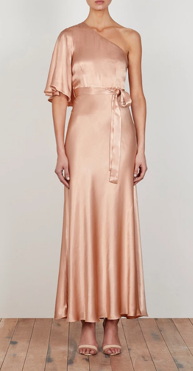 LA LUNE ONE SHOULDER BIAS MAXI DRESS - DESERT ROSE