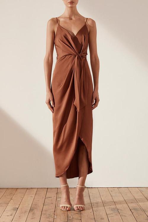 ORO TIE FRONT COCKTAIL MIDI DRESS - MOCHA