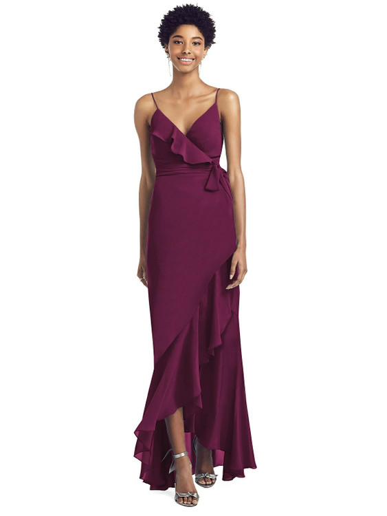 Ruffled High Low Faux Wrap Dress with Spaghetti Straps By Social Bridesmaid 8198 in 34 colors
