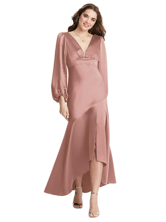 Teagan - Puff Sleeve Asymmetrical Drop Waist High-Low Slip Dress