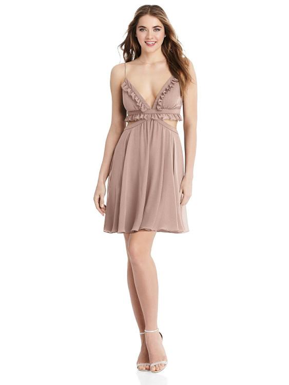 Joey - Ruffled Chiffon Cutout Mini Dress