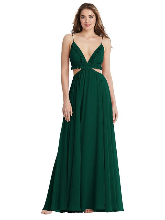 Jessie - Ruffled Chiffon Cutout Maxi Dress  LB014