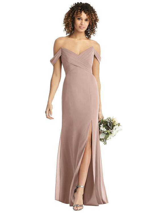Off-the-Shoulder Criss Cross Bodice Trumpet Gown style 8193 by After Six in 63 colors