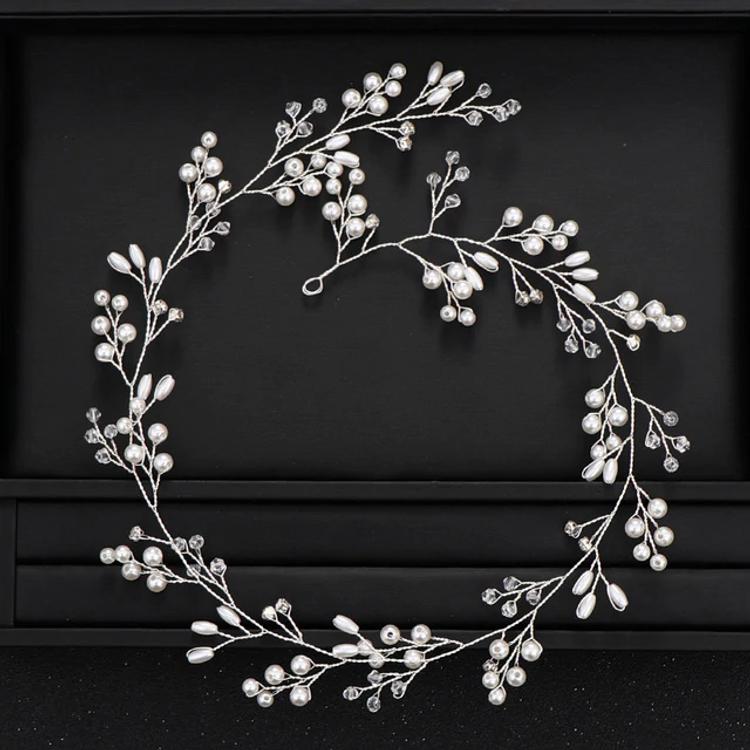 Wedding Headdress Pearl Crystal Silver 50cm