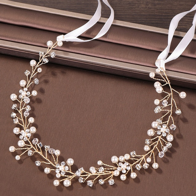 Wedding Hairpiece Pearl Crystal Gold