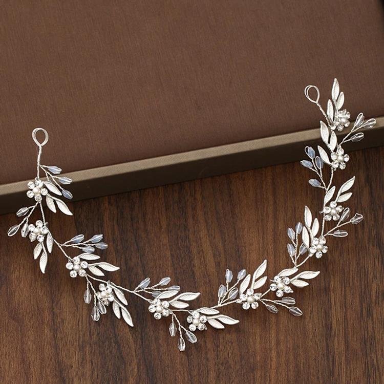 Wedding Hairpiece Silver Leaf Crystal Pearl