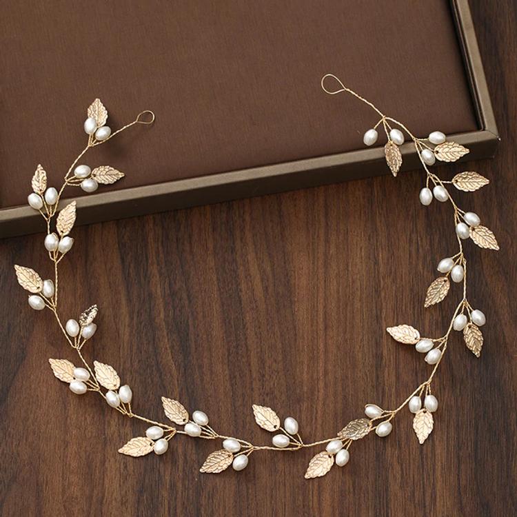 Wedding Headdress Gold Leaf Pearl