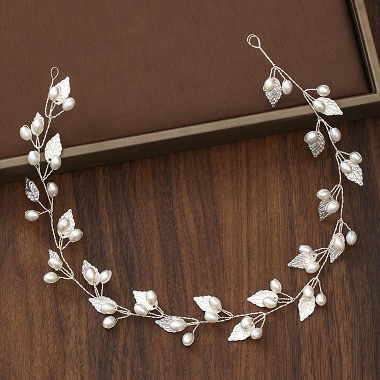 Wedding Headdress Silver Leaf Pearl