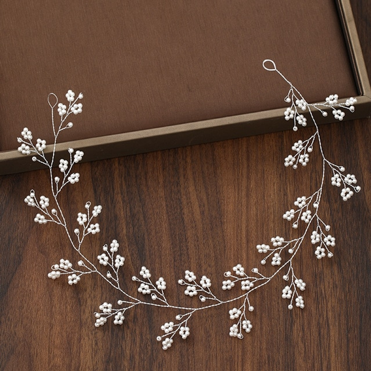 Wedding Hairpiece Silver Floral Pearl
