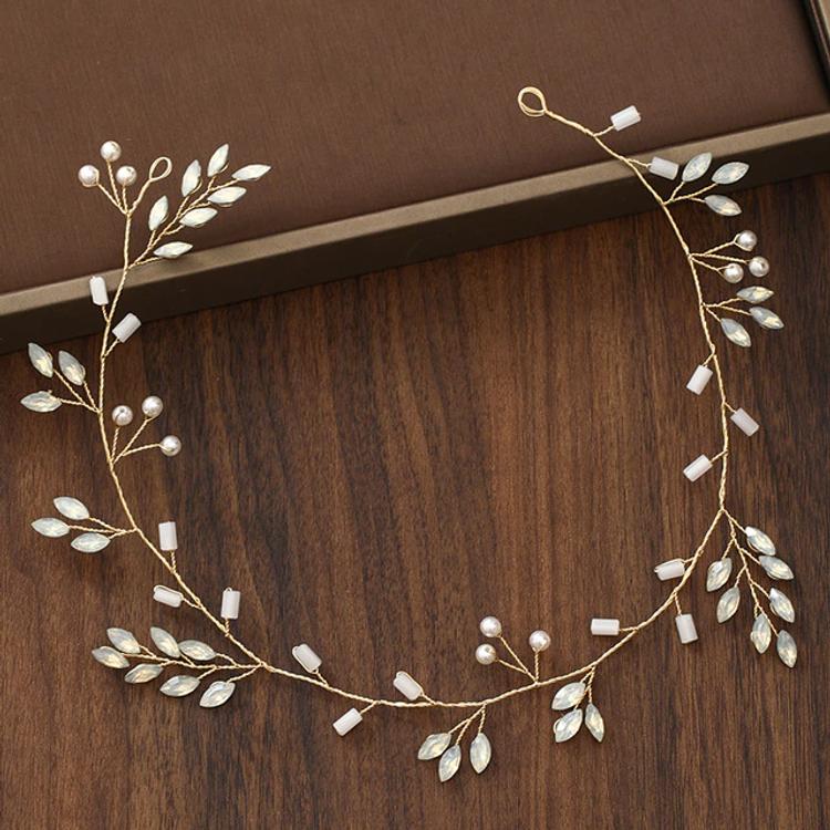 Wedding Headdress Pearl Crystal Gold