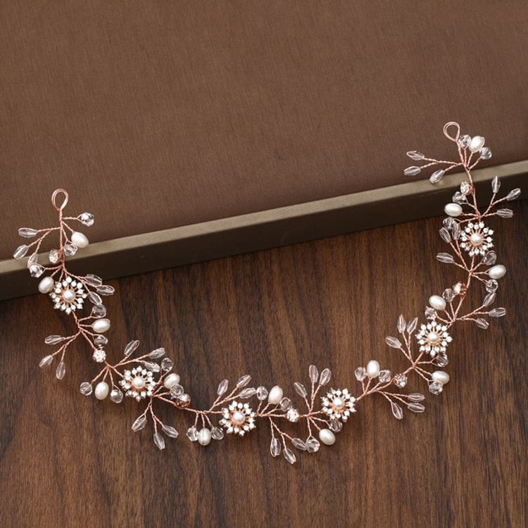 Wedding Hairpiece Rose Gold Floral Pearl Crystal