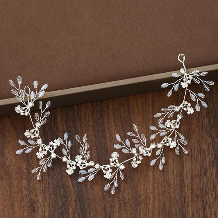Wedding Headdress Leaf Crystal Silver