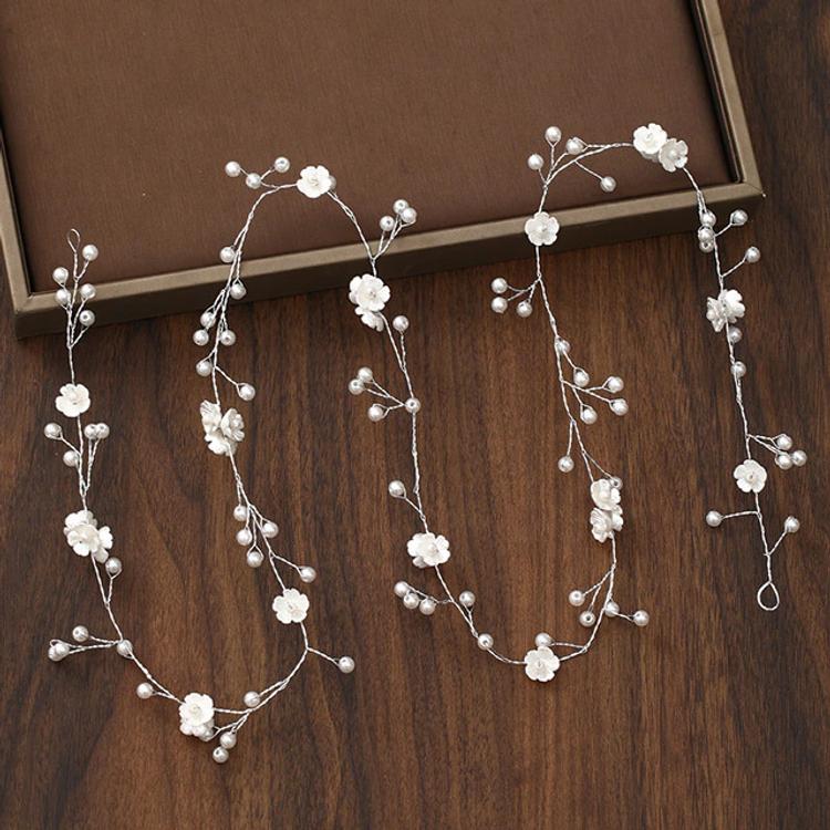 Wedding Headdress Silver Pearl Crystal Floral