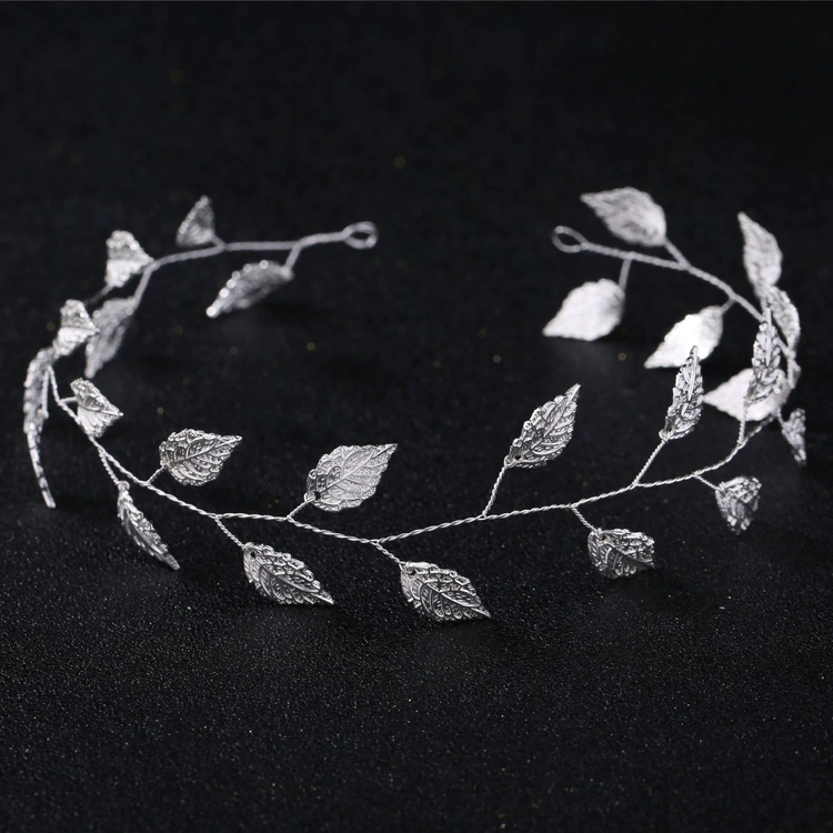 Wedding Headband Leaf Silver 34cm