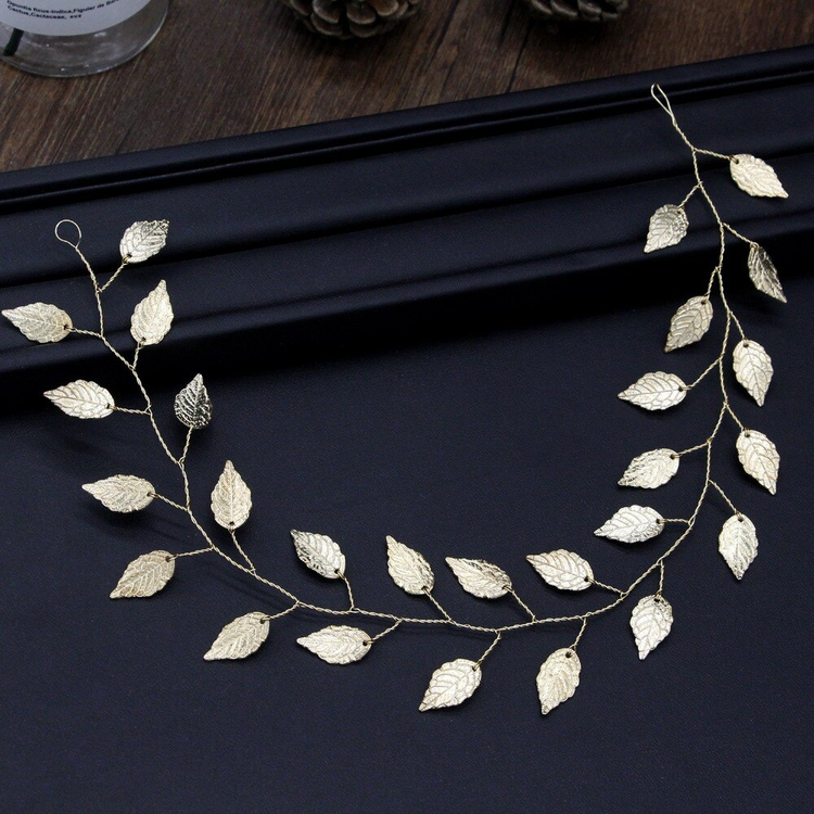 Wedding Headband Leaf Gold 34cm