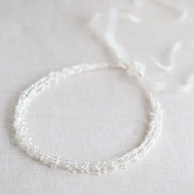 Wedding Headband Pearl Silver