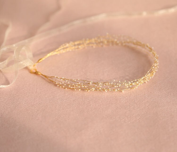 Wedding Headband Pearl Gold
