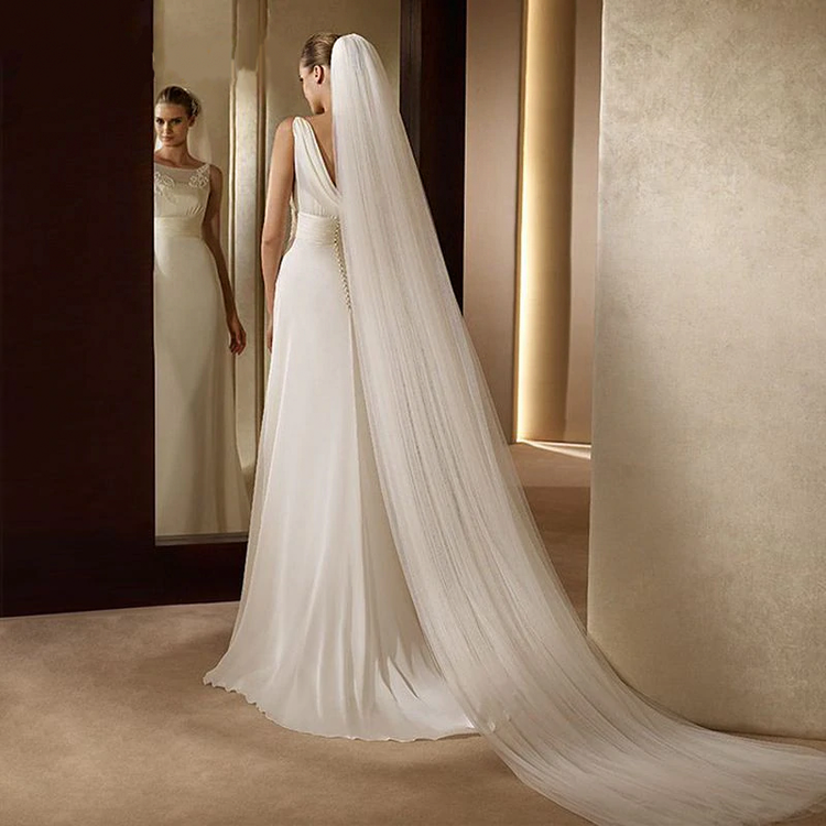 Simple Single Layer 5m Floor Length Cathedral Wedding Veil