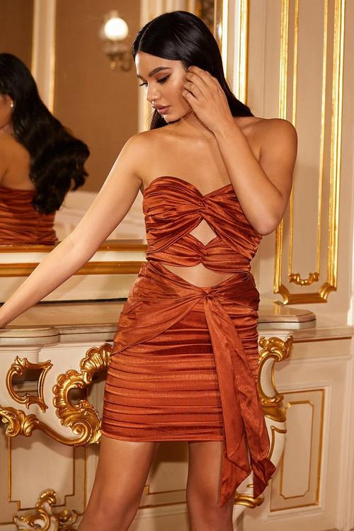 LULIA DRESS - STRAPLESS RUST SATIN MINI DRESS WITH RUCHING & CUT-OUTS