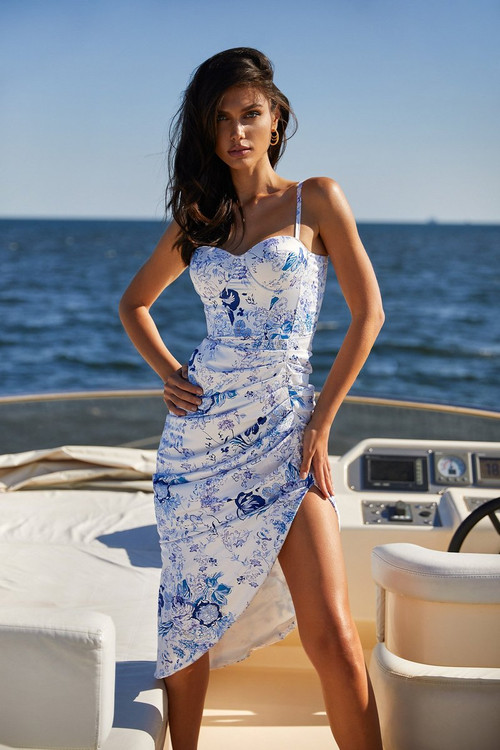 MAISY DRESS - WHITE & BLUE FLORAL MIDI DRESS WITH BUSTIER & RUCHING