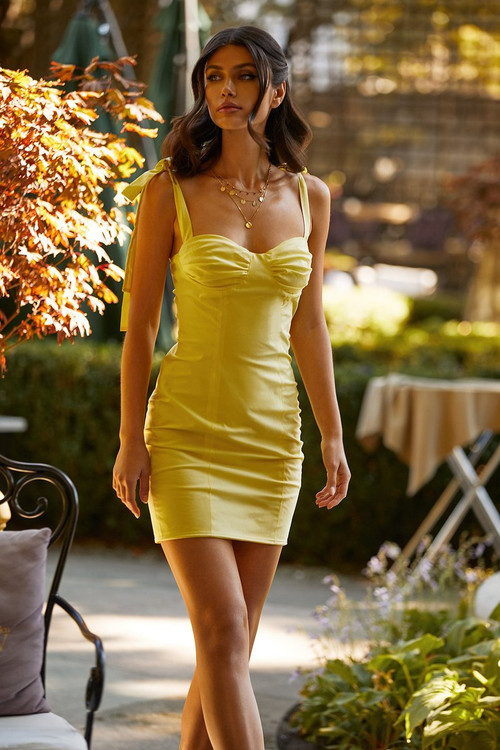 Maddalyn Dress - Yellow Mini Dress with Bustier &  Tie-up Straps in Small & medium