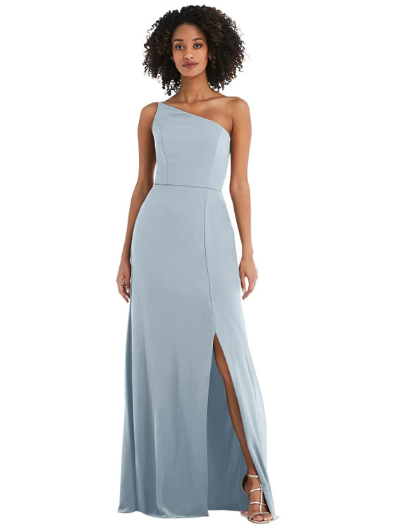 Skinny One-Shoulder Trumpet Gown with Front Slit style 1544 available in 37 colors