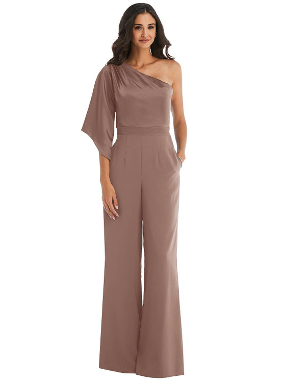One-Shoulder Bell Sleeve Jumpsuit with Pockets style 6839  in Sienna