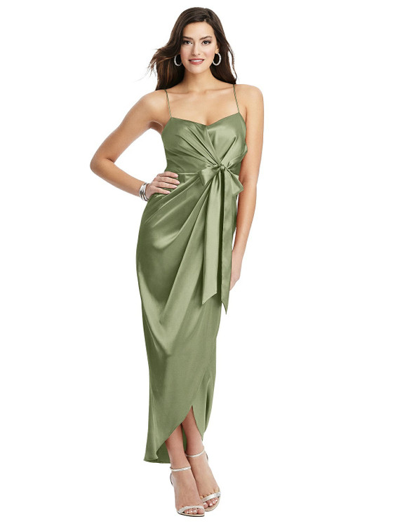 Faux Wrap Midi Dress with Draped Tulip Skirt style 6828 available in 37 colors in kiwi